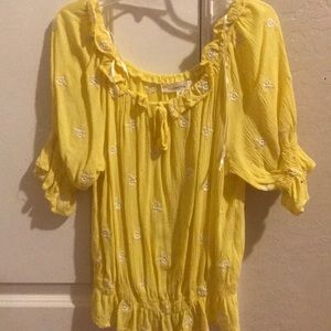 off the shoulder yellow blouse